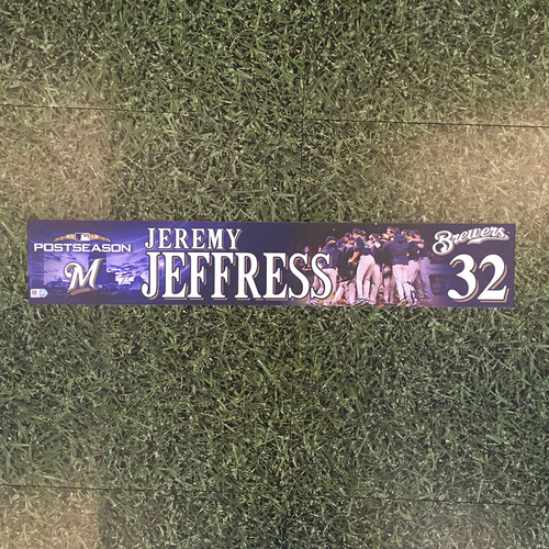 Photo of Jeremy Jeffress 2018 Game-Used Postseason (NLDS) Locker Nameplate