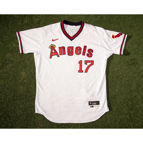 Photo of Shohei Ohtani Game Used 70's Throwback Uniform (pants not pictured but are included), Worn 7/30/21 & 7/31/21 vs. OAK