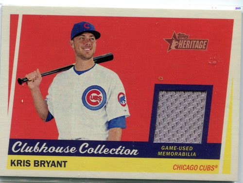 Photo of 2016 Topps Heritage Clubhouse Collection Relics  Kris Bryant