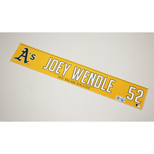 Joey Wendle 2016 Team-Issued Home Clubhouse Locker Nameplate