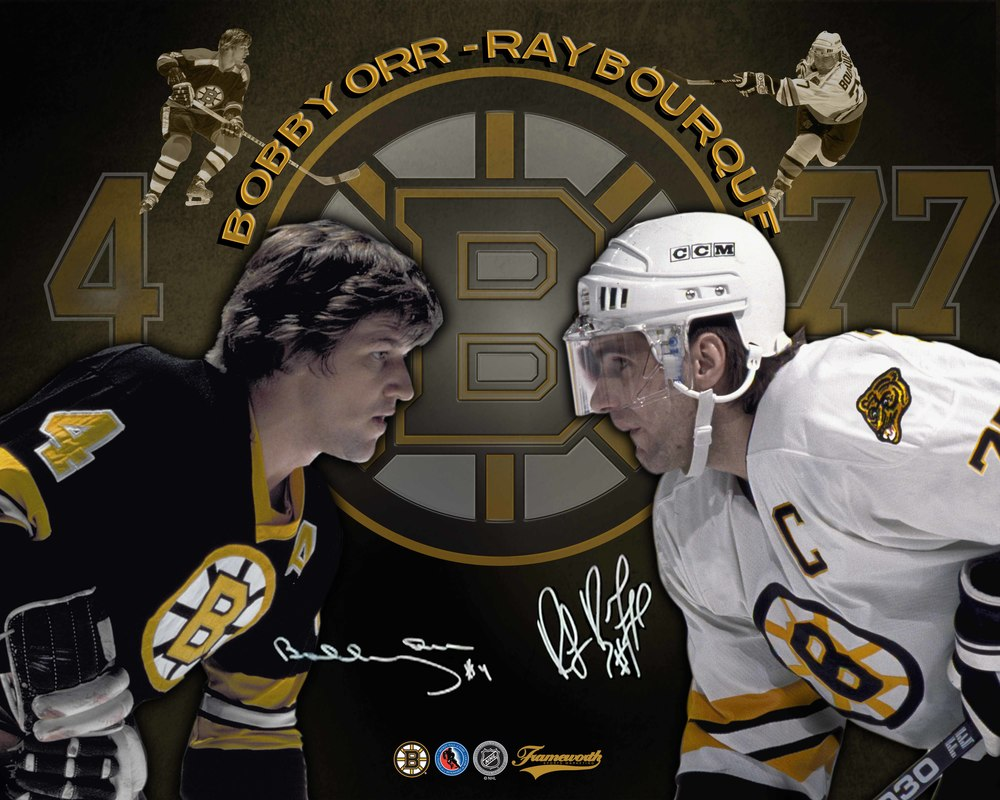 Bobby Orr & Ray Bourque - Dual-Signed unframed 16x20