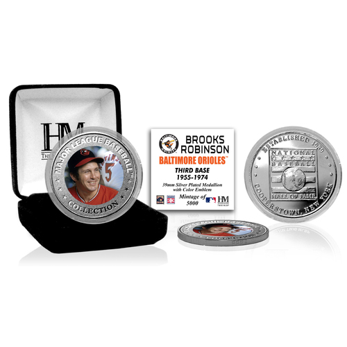 Photo of Brooks Robinson Baseball Hall of Fame Silver Color Coin