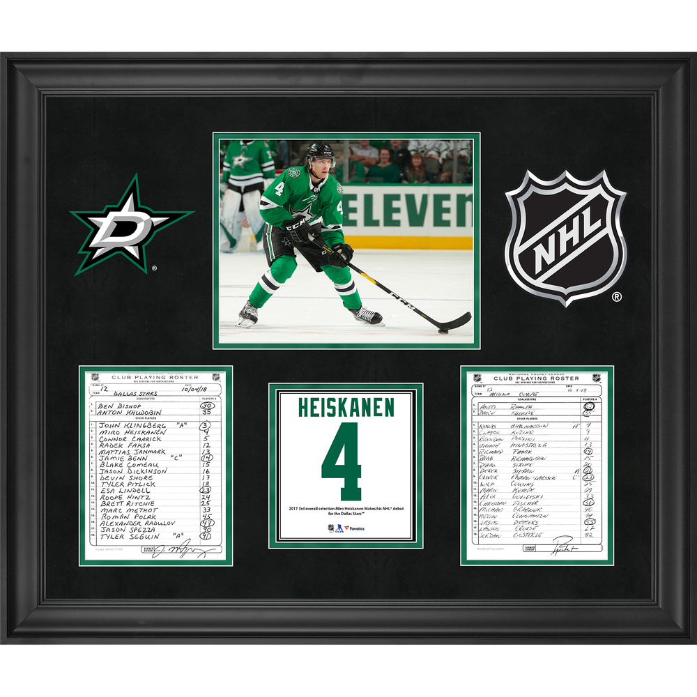 Dallas Stars Framed Original Line-Up Cards from October 4, 2018 vs. Arizona Coyotes - Miro Heiskanen NHL Debut