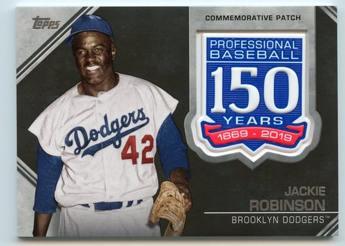 Photo of 2019 Topps 150th Anniversary Manufactured Patches #AMPJR Jackie Robinson S2