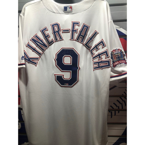 Photo of Isiah Kiner-Falefa Final Season Patch White Autographed Replica Jersey