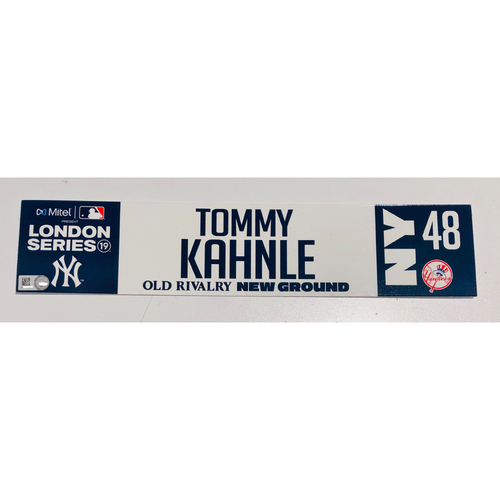 2019 London Series - Game Used Locker Tag - Tommy Kahnle, New York Yankees vs Boston Red Sox - 6/30/2019