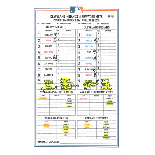Photo of Game-Used Lineup Card - Stroman 4 IP, 1 ER, 1 K; J.D. Davis Walk-Off Hit in the 10th; Mets Win 4-3 - Mets vs. Indians - 8/21/19