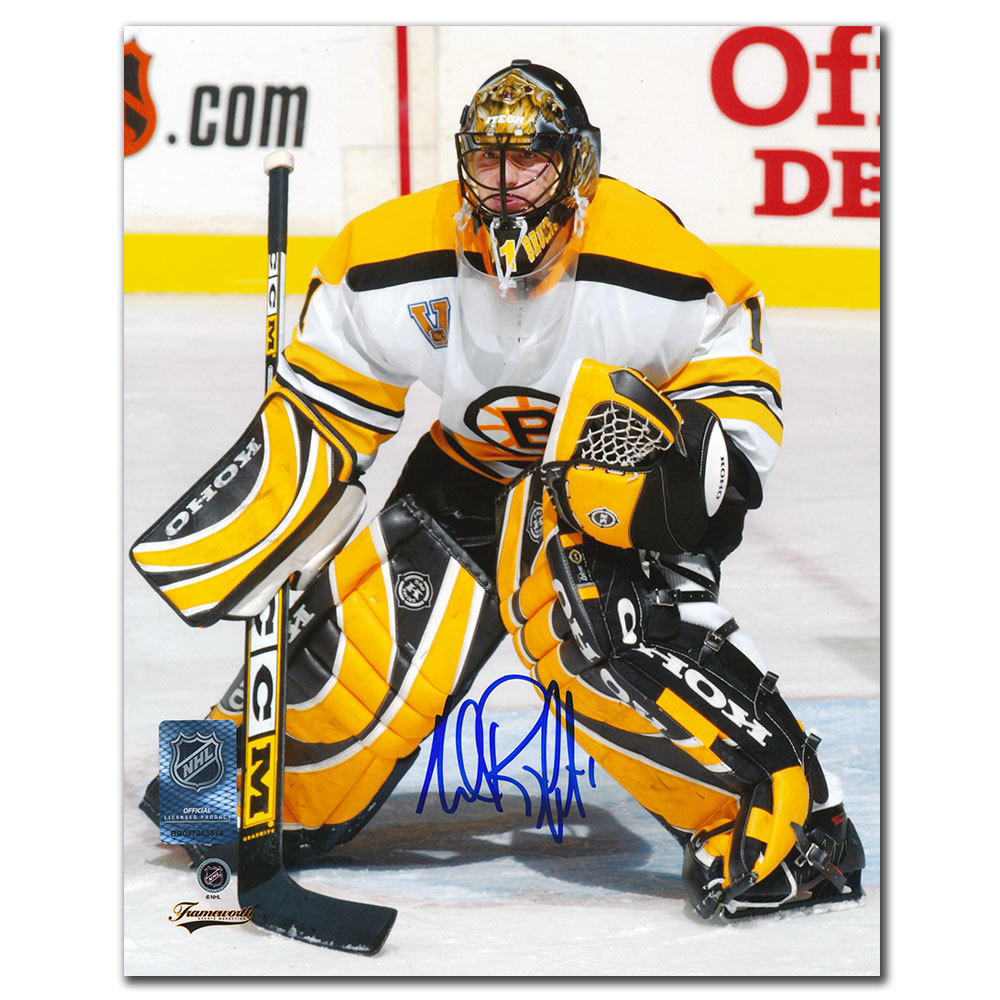 Andrew Raycroft Boston Bruins White Jersey Autographed 8x10
