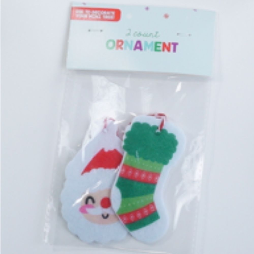 Photo of Stocking & Santa Christmas Ornament 2pk