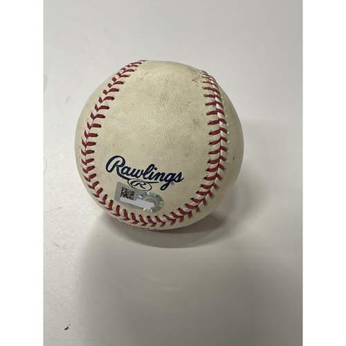 Photo of Game-Used Baseball- 5/28/2021 Toronto at Cleveland- Phil Maton strikes out Bo Bichette and Marcus Semien
