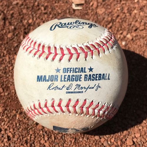 San Francisco Giants - Game-Used Baseball from Christian Arroyo's 1st Hit Game - B5 Clayton Kershaw to Christian Arroyo - Pitch in the dirt