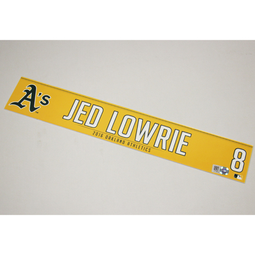 Jed Lowrie 2016 Team-Issued Home Clubhouse Locker Nameplate