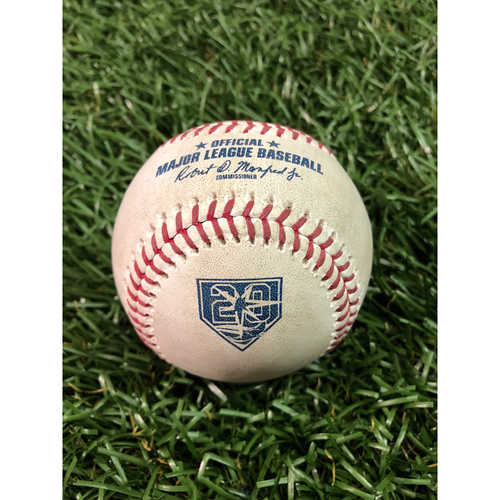 Photo of 20th Anniversary Game Used Baseball: Jake Newberry MLB Debut pitched baseball - August 20, 2018 v KC