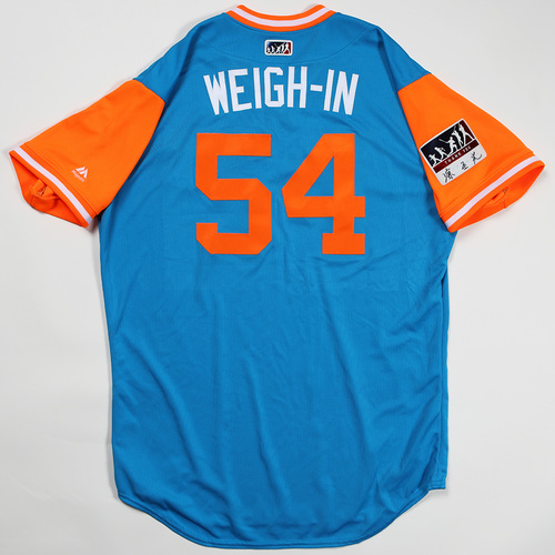 "Photo of Wei-Yin ""Weigh-In"" Chen Miami Marlins Game-Used Jersey 2018 Players' Weekend Jersey"