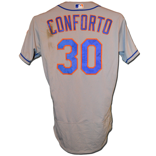 Photo of Michael Conforto #30 - Game Used Road Grey Jersey - Conforto Goes 1-3, 1 Run Scored, 2 Walks - Mets vs. Nationals - 9/21/18