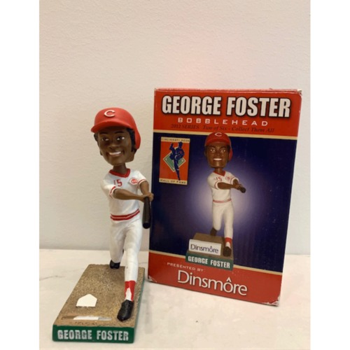 Photo of George Foster Autographed Reds Hall of Fame Bobblehead