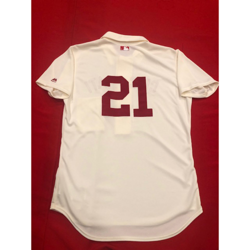Photo of Michael Lorenzen -- 1902 Throwback Jersey -- Game-Used -- SF vs. CIN on May 4, 2019