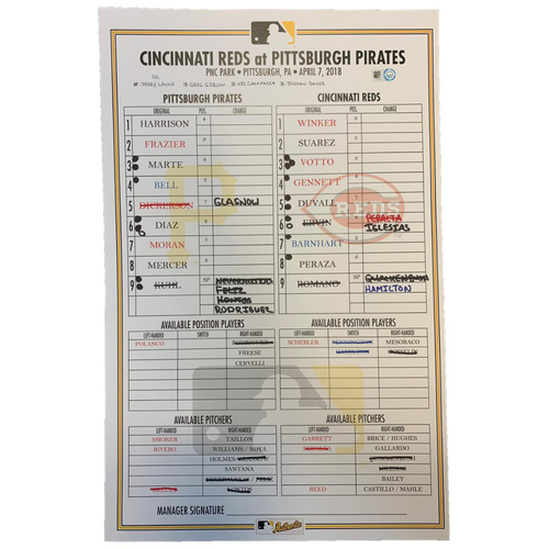 Photo of 2020 Pittsburgh Pirates Game-Used Lineup Card (September) - PRESALE: Choose your Game Date!