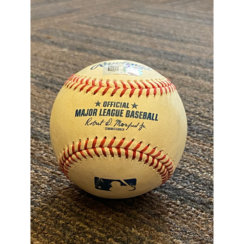 Photo of Game-Used Baseball - New York Yankees at Baltimore Orioles (7/30/2020) - Batter -  Giancarlo Stanton - RBI Single