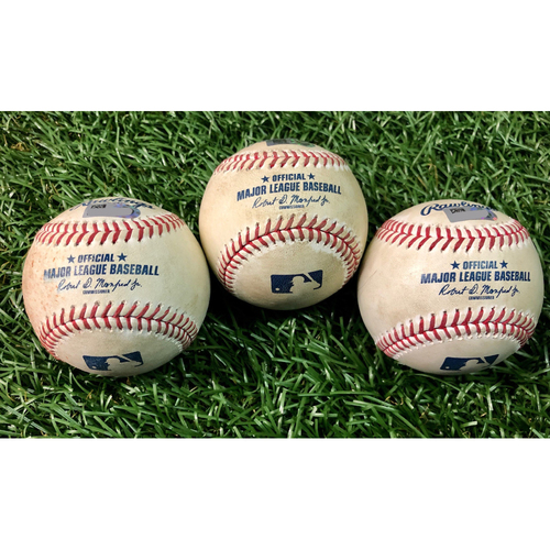 Photo of Game Used Baseball Package: Hunter Renfroe, Yoshitomo Tsutsugo and Brandon Lowe - Ryan Fleming MLB Debut - August 22-24 v TOR