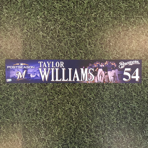Photo of Taylor Williams 2018 Game-Used Postseason (NLDS) Locker Nameplate