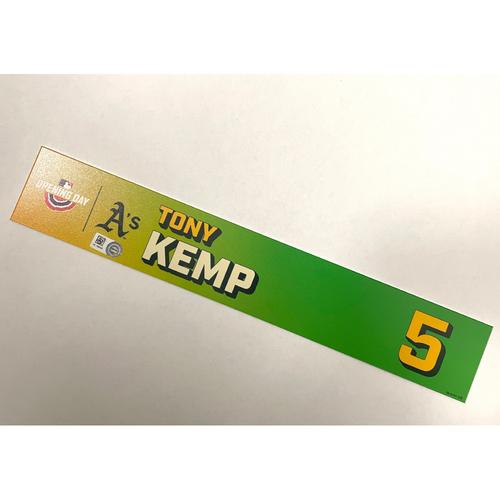 Photo of Game-Used 2021 Opening Day Locker Nameplate - Tony Kemp