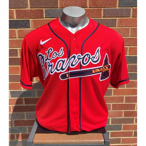 Photo of Orlando Arcia MLB Authenticated Game-Used Los Bravos Jersey