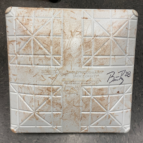 Photo of Buster Posey BP28 Foundation - 2021 Autographed Game Used Base used & signed on 9/1 vs. MIL by #28 Buster Posey - 3rd Base used during Innings 1-3 - Childhood Cancer Awareness Day Base Jewels