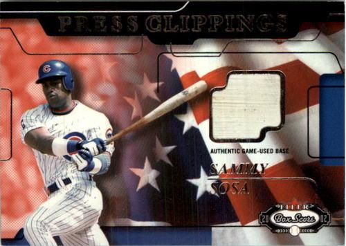 Photo of 2002 Fleer Box Score Press Clippings Game Used #18 Sammy Sosa Base