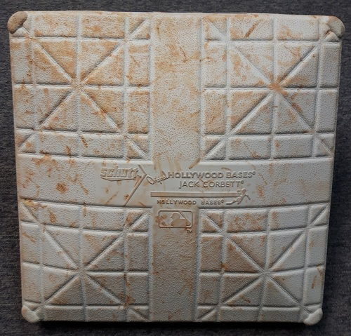 Photo of Authenticated Game Used Base - May 20, 2015. Mike Trout's 109th Career Home Run Game (2nd Base for Innings 1 to 5)