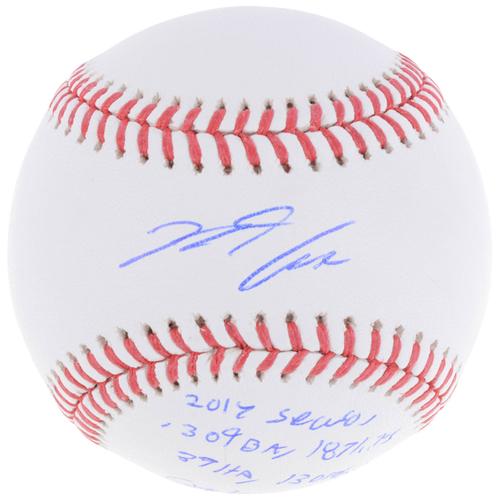 Photo of Nolan Arenado Colorado Rockies Autographed Baseball with 2017 Season Stat Inscriptions - L. E. of 28