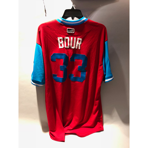 "Photo of Philadelphia Phillies 2018 Little League Classic Game-Used Jersey - Justin ""Bour"" Bour - 8/19/2018"