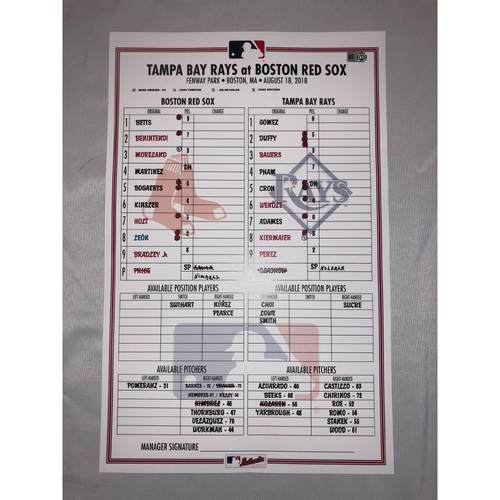 Photo of Rays at Red Sox - August 18, 2018 Game-Used Lineup Card - Red Sox Win 5 to 2
