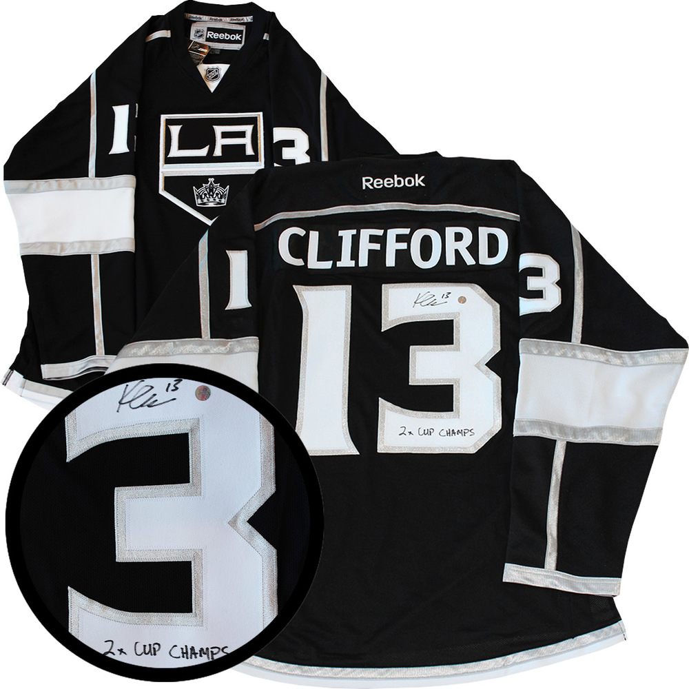 Kyle Clifford Signed Jersey Kings 2x Cup Champ Inscr. Replica Black 2012 Reebok
