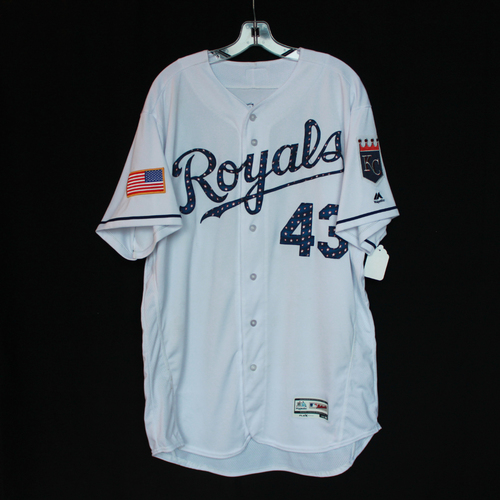 Photo of Game-Used Independence Day Game Jersey: Wily Peralta (Size 50 - CLE @ KC - 7/4/18)