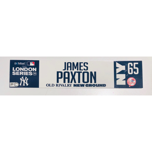 2019 London Series - Game Used Locker Tag - James Paxton, New York Yankees vs Boston Red Sox - 6/30/2019