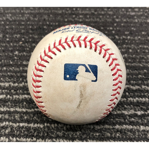 Photo of 2019 Game Used Baseball - 8/13/19 - SF vs OAK - B-6: Anderson to Pillar - RBI Double to LF (Longoria Scores)
