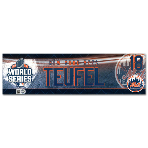 Photo of Tim Teufel #18 - Game-Used World Series Locker Nameplate - Game 1 - Mets vs. Royals - 10/27/15 - Game 2 - Mets vs. Royals - 10/28/15