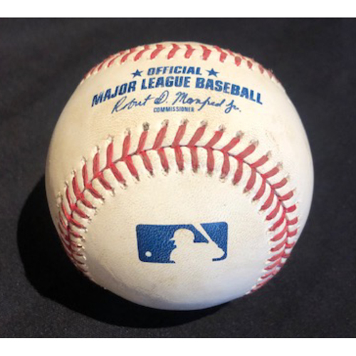 Photo of Game-Used Baseball -- Ivan Nova to Mike Moustakas (Foul) -- Bottom 1 -- Tigers vs. Reds on 7/25/20