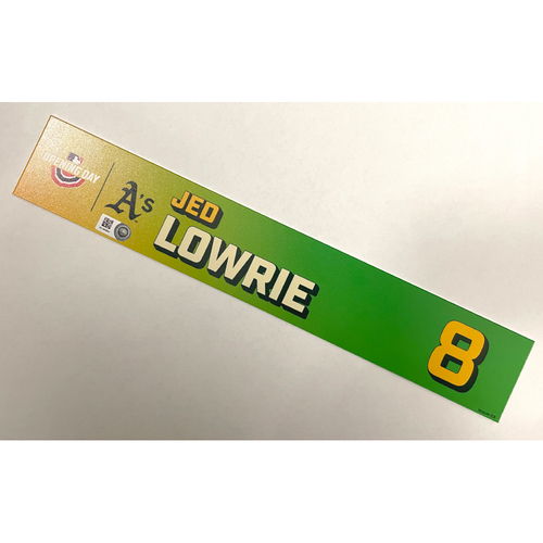 Photo of Game-Used 2021 Opening Day Locker Nameplate - Jed Lowrie