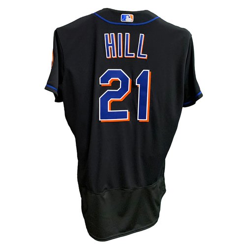 Photo of Rich Hill #21 - Game Used Black Jersey with Seaver Patch - Mets vs. Yankees - 9/10/21