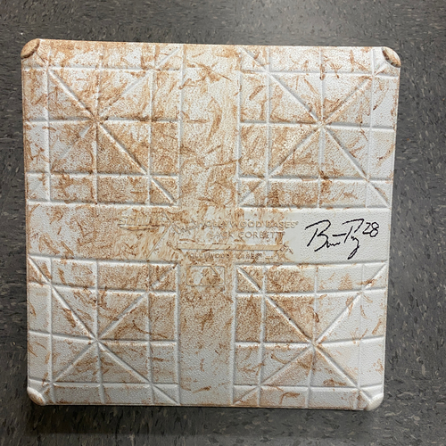 Photo of Buster Posey BP28 Foundation - 2021 Autographed Game Used Base used & signed on 9/1 vs. MIL by #28 Buster Posey - 2nd Base used during Innings 1-3 - Childhood Cancer Awareness Day Base Jewels