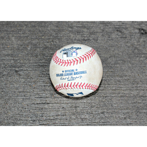 Game Used Baseball: Carlos Santana DBL off KC Pitcher Chris Young - (June 04, 2015 - CLE at KC)