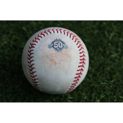 Photo of Game-Used Baseball: Nomar Mazara 348th Career Hit and 219th Career RBI (TEX @ KC - 6/18/18)