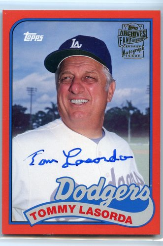 Photo of 2017 Topps Archives Fan Favorites Autographs Red #FFATL Tommy Lasorda 19/25