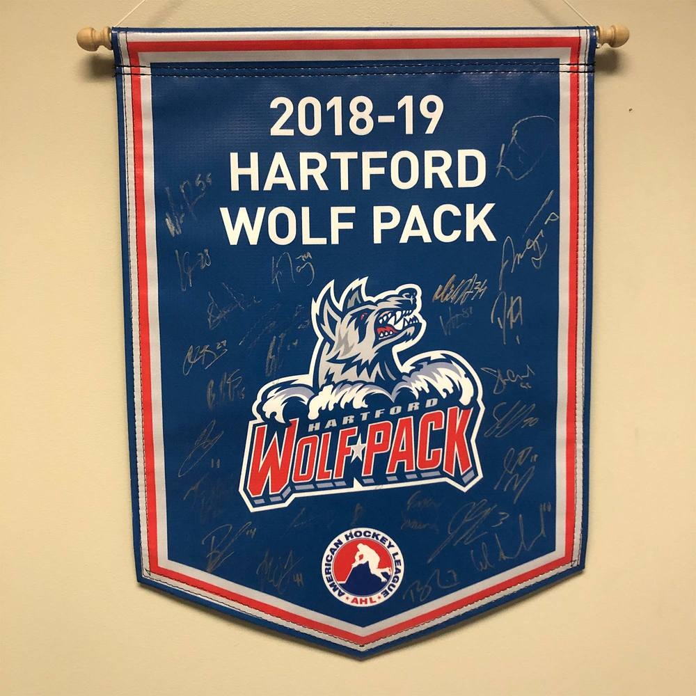 2018-19 Hartford Wolf Pack Team-Signed Banner