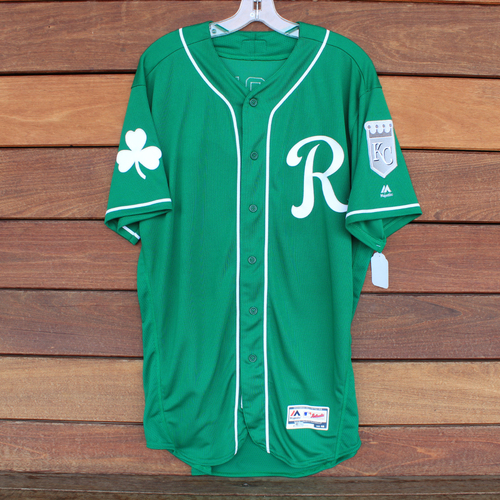 Photo of Game-Used Saint Patrick's Day Jersey: Meibrys Viloria (KC @ SF - 3/17/19) (Size 46)