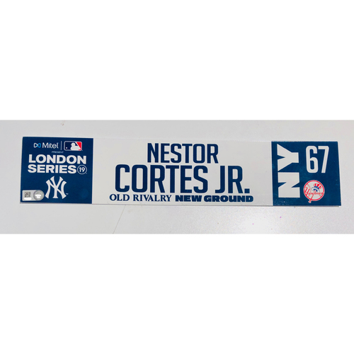 Photo of 2019 London Series - Game Used Locker Tag - Nestor Cortes Jr., New York Yankees vs Boston Red Sox - 6/30/2019