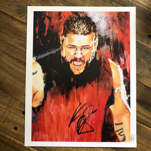 Photo of Kevin Owens SIGNED 11 x 14 Rob Schamberger Print