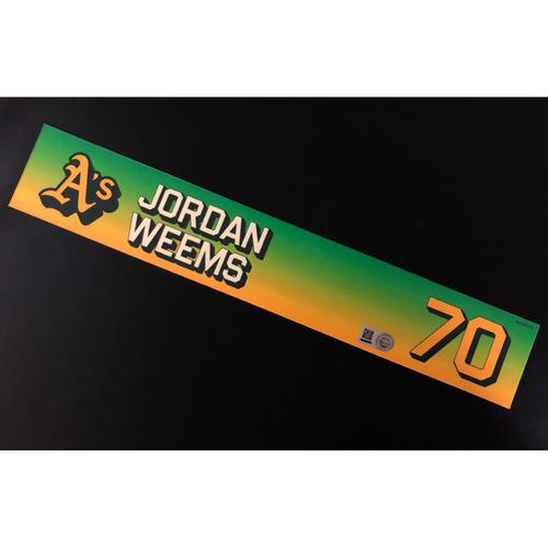 Photo of Game-Used 2020 Season Locker Nameplate - Jordan Weems